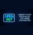 glowing neon sign open 24 hours 7 days a week vector image vector image