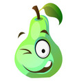 green pear winks on white background vector image vector image