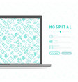hospital concept with thin line icons vector image
