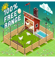 Isometric Henhouse Free Range Farming vector image vector image