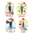 manager jeweler pilot and seller profession vector image vector image