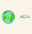 mother earth day card of carbon footprint concept vector image vector image