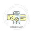 online mobile payment with credit card icon vector image vector image
