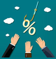 percent sign hanging on a fishing hook vector image