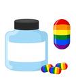 Pills with LGBT flag Medical bottle tablet vector image vector image