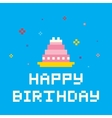 Pixel birthday cake vector image vector image