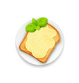 sandwich with butter and basil vector image vector image