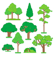 set green trees and shrubs on white background vector image