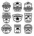 set mushroom hunting emblems design element vector image vector image