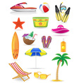set of beach icons 03 vector image