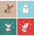 Set of flat Christmas characters vector image