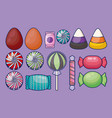 set of sweet candies isolated icon vector image