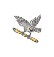 Shrike Clutching Propeller Blade Retro vector image vector image