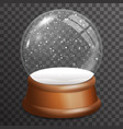 snow falling glass ball highlight wooden stand 3d vector image vector image