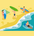 surf beach isometric composition vector image vector image