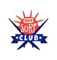 surfing club logo since 1965 surf retro badge vector image vector image