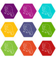 surprised monkey icons set 9 vector image vector image