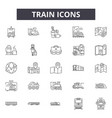 train line icons signs set linear vector image vector image