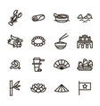vietnam signs black thin line icon set vector image
