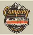 vintage summer camping colorful badge vector image vector image