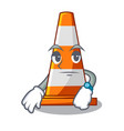 waiting on traffic cone against mascot argaet vector image vector image