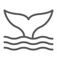 whale tail line icon animal and underwater vector image vector image