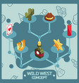 wild west color isometric concept icons vector image vector image