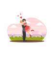 young man holding beloved girl in his arms happy vector image vector image