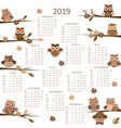 2019 calendar with owls vector image vector image