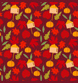 autumn orange pumpkins flowers leaves black vector image