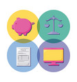 balance finance economy and set icons vector image