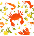 big crab king shrimp sour lemon and fresh vector image vector image