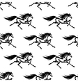 Black and white horses seamless pattern vector image
