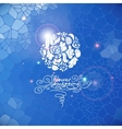 Blue print background with circle flowers vector image vector image