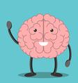 Brain character waving hand vector image vector image