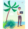 business travel poster with freelancer on beach vector image vector image
