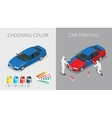 Car painting process vector image vector image