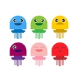 color cute jellyfish smiling icon set vector image vector image