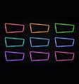 color neon frames set on transparent background vector image