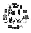 denmark travel icons set simple style vector image