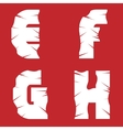 EFGH grunge letters vector image vector image