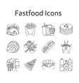 Fastfood and streetfood icons set vector image vector image