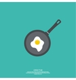Fried egg in frying pan vector image vector image
