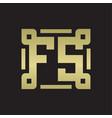 fs logo monogram with piece line art design vector image vector image