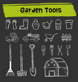garden tool doodle icon set vector image