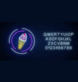 glowing neon sign ice cream cone in circle vector image vector image