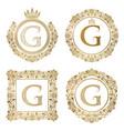 golden letter g vintage monograms set heraldic vector image vector image