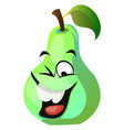 Green pear cartoon face laughing on white