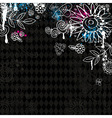 hand draw flowers on black background vector image vector image