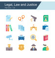 legal law and justice icons flat design for vector image